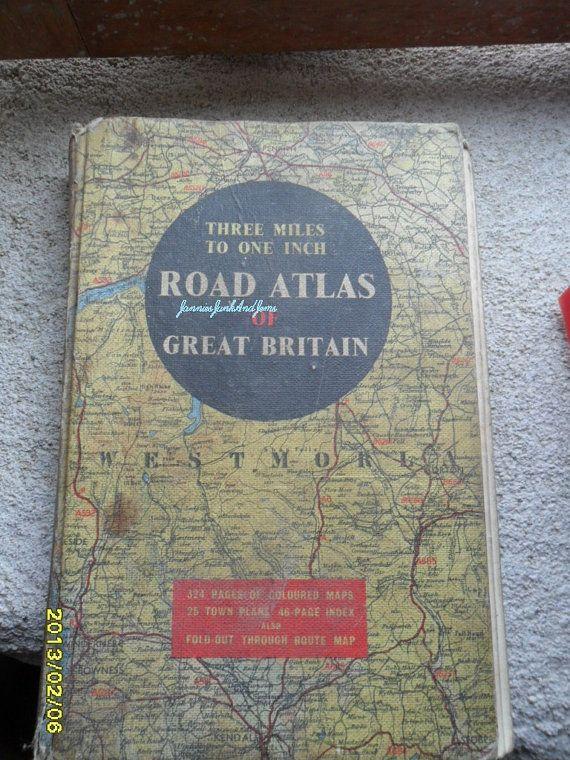 Road Atlas  Map Book  English  Found In by JanniesJunkandJems, €13.00