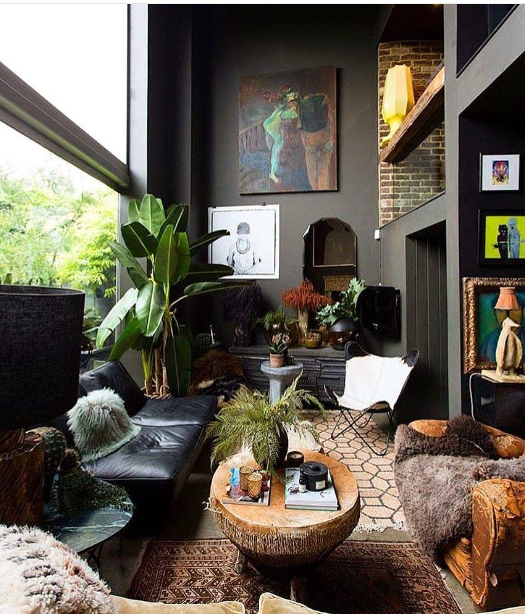Dark And Moody Interior Dark Living Rooms Black Living Room
