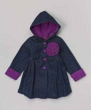 Denim & Purple Floral Hooded Swing Coat - Toddler & Girls by Maria Elena #zulily #zulilyfinds. $22.99