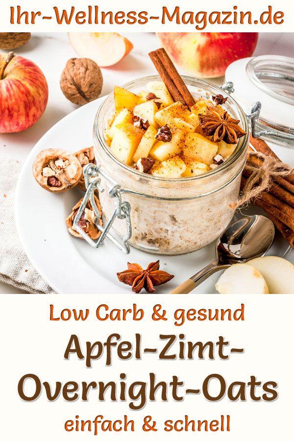 Low Carb Apfel-Zimt-Overnight-Oats - gesundes Rezept fürs Frühstück