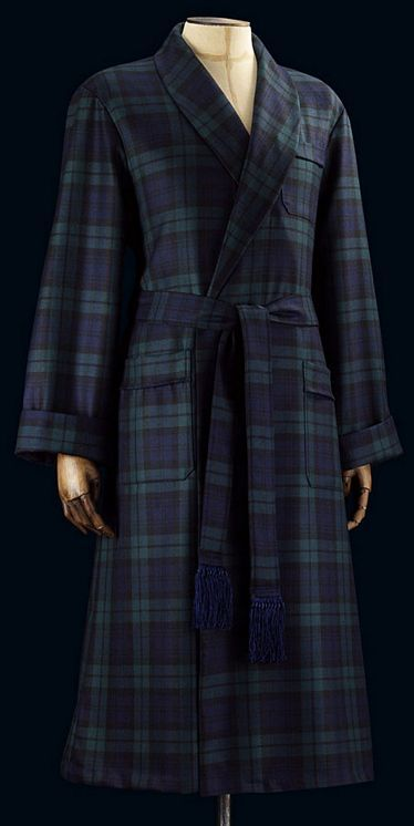 Savile Row Navy Tartan Wool Dressing Gown | Sleepwear | Pinterest ...