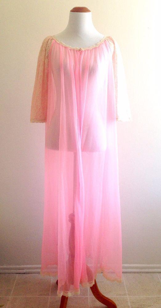 vintage 60s flower power peignoir robe nightgown set