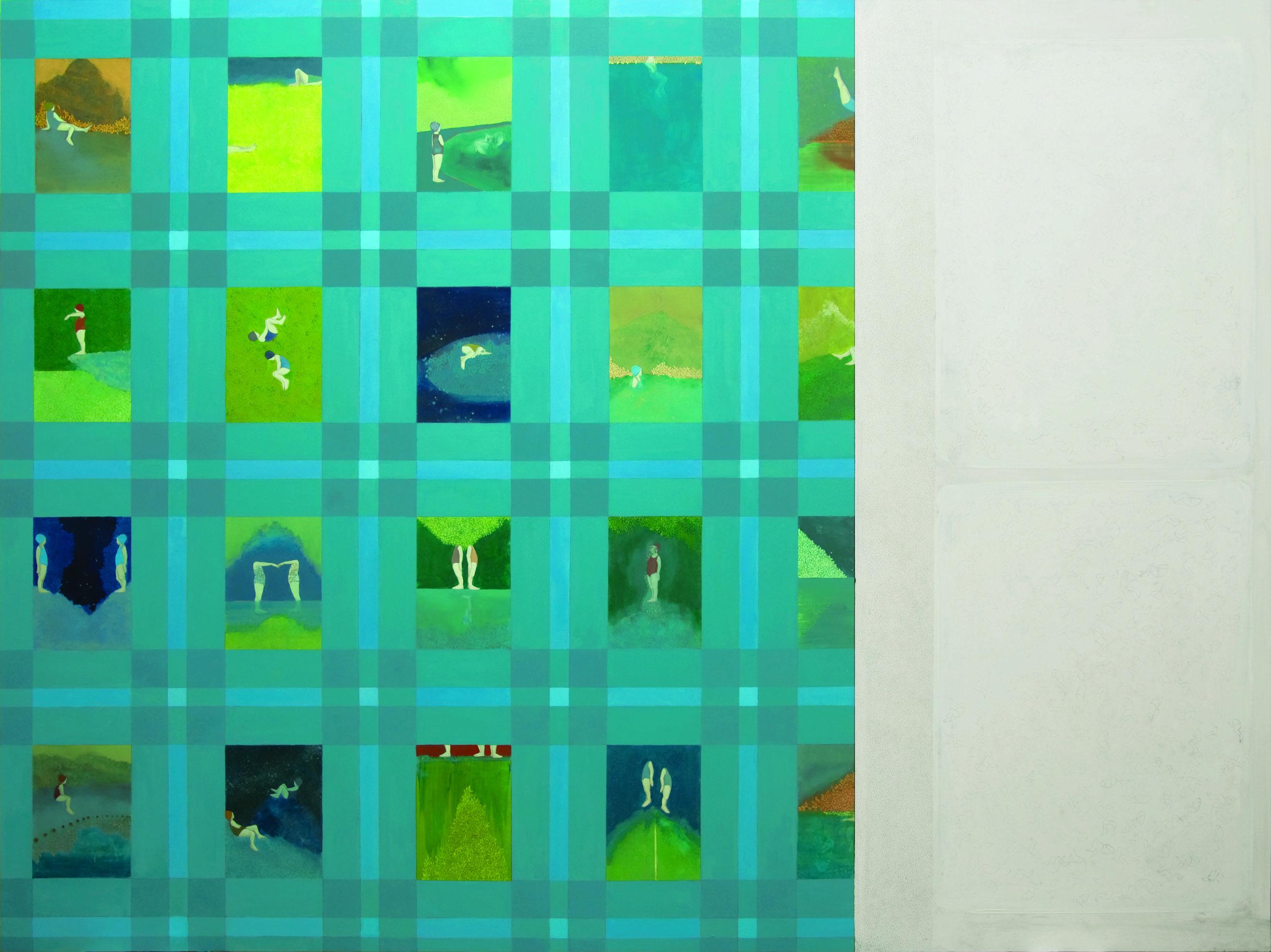 "Elisa Bertaglia ""Bluebirds #3"", 2015, Olio, pastelli e grafite su carta, 150 x 200 cm.  Mostra WELOVESLEEP, Galleria Santa Radegonda, fermata Duomo della metropolitana di Milano, fino al 14 giugno 2015. INGRESSO GRATUITO #welovesleep"