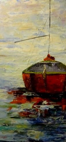 Sailboat, painting by artist Delilah Smith