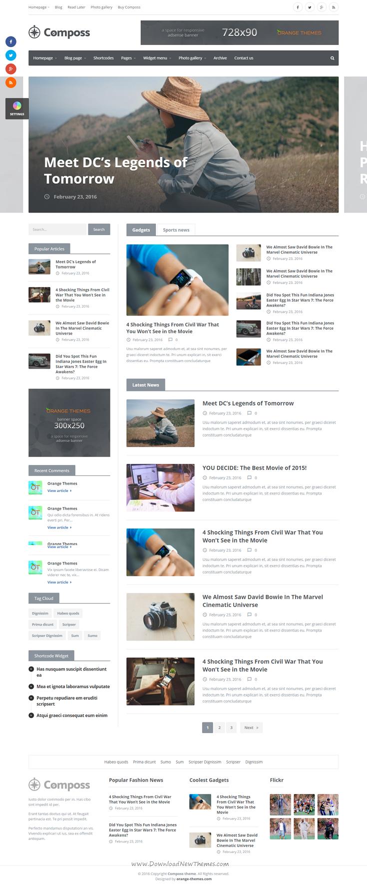 Composs Elegant Wordpress Theme For Blog Magazine And News Website Newspaper Wordpress Ecommer In 2020 News Website Design News Web Design Elegant Wordpress Themes