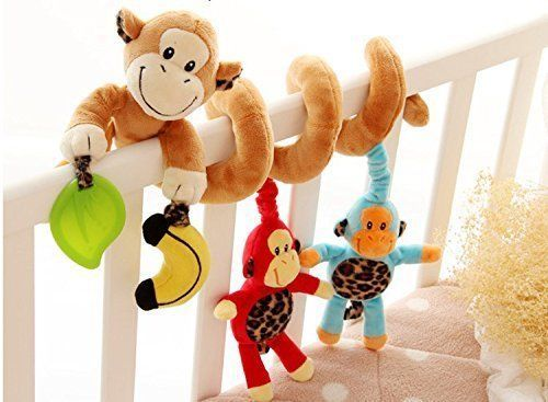 VALUE MAKERS Baby Toys Cute Monkey Design Infant Plush Warp Around Crib Toys #VALUEMAKERS