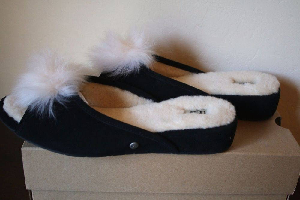 8fda66c5e UGG Women's YVETT BLACK Shearling Pom Pom Puff Slippers Size 11 - NEW # UGGAustralia #SlipperShoes