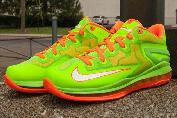 size 40 b71d4 ccf14 Nike LeBron 11 Low GS - Electric Green - White - Total Orange -  SneakerNews.com