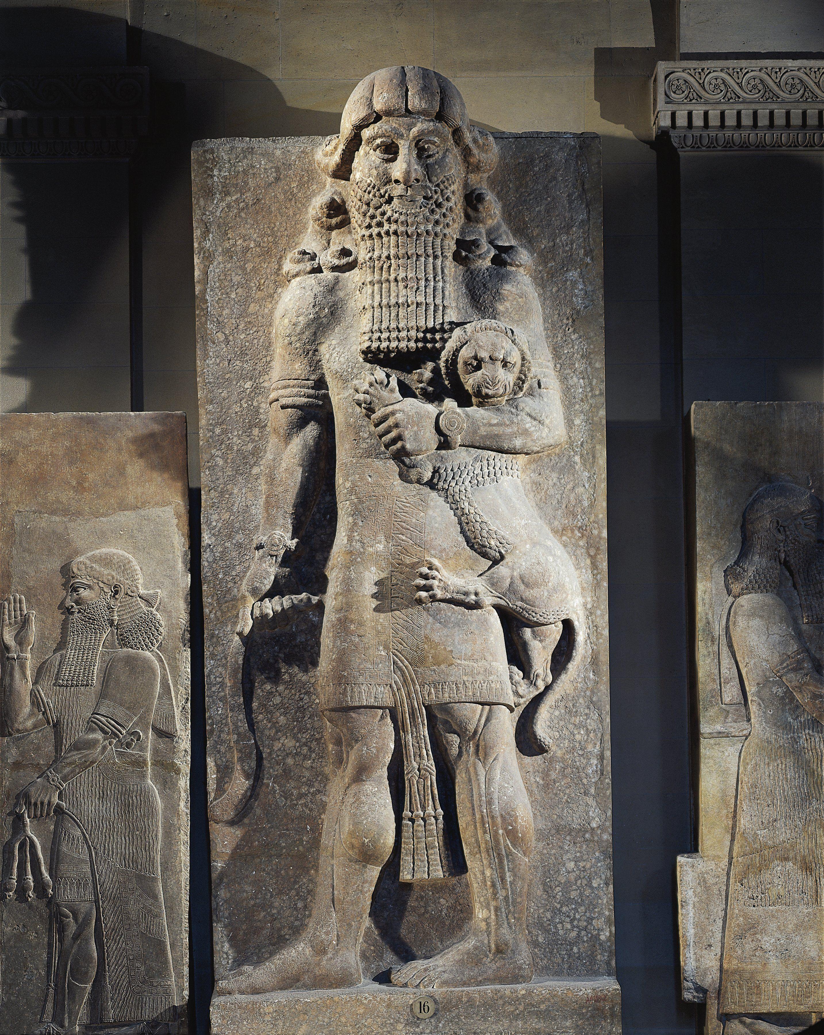 Chalky Alabaster Statue Of Gilgamesh King Of Uruk