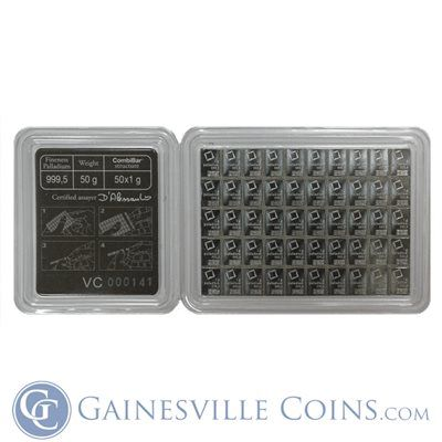 Palladium Metal 1 Gram Valcambi Bar CombiBar 99.95/% Pure Bullion