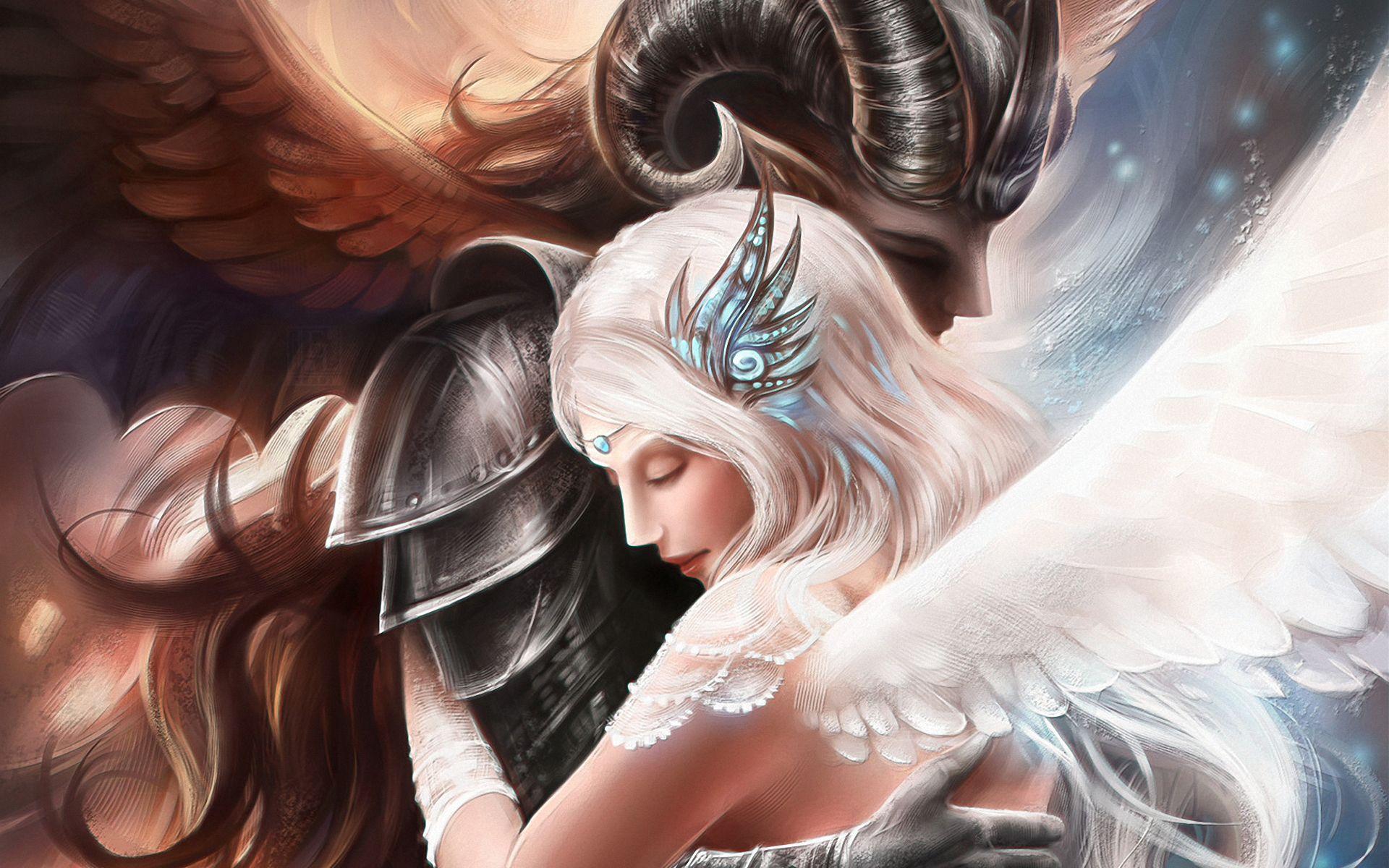 art, #girl, #love, #angel, #Guy, #demon, #hugs | Fantasy couples, Light in  the dark, Angels and demons