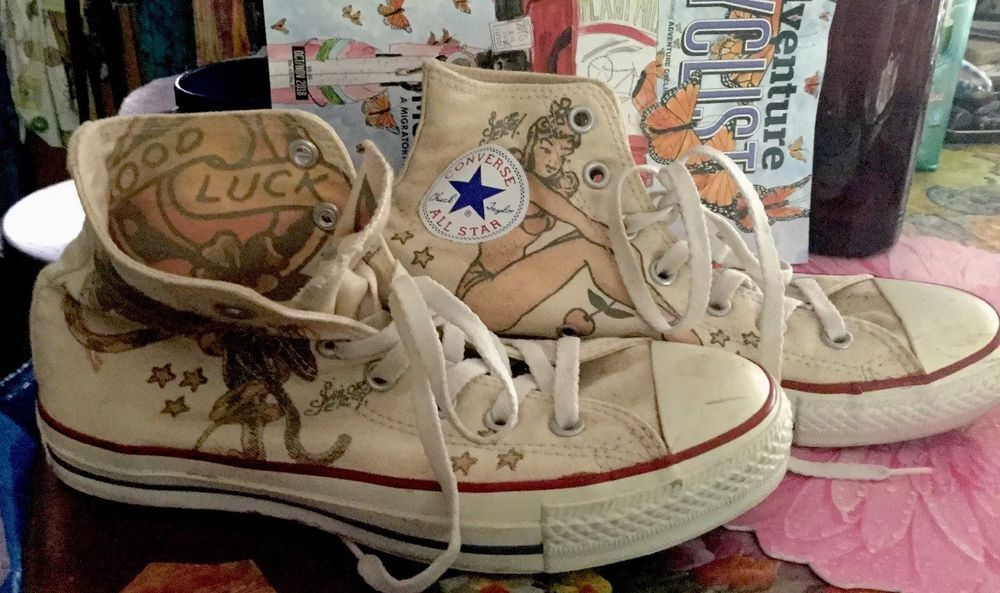 6a36309e8ce9 converse all star chuck taylor SAILOR JERRY Woman8 Men6  fashion  clothing   shoes  accessories  unisexclothingshoesaccs  unisexadultshoes (ebay link)