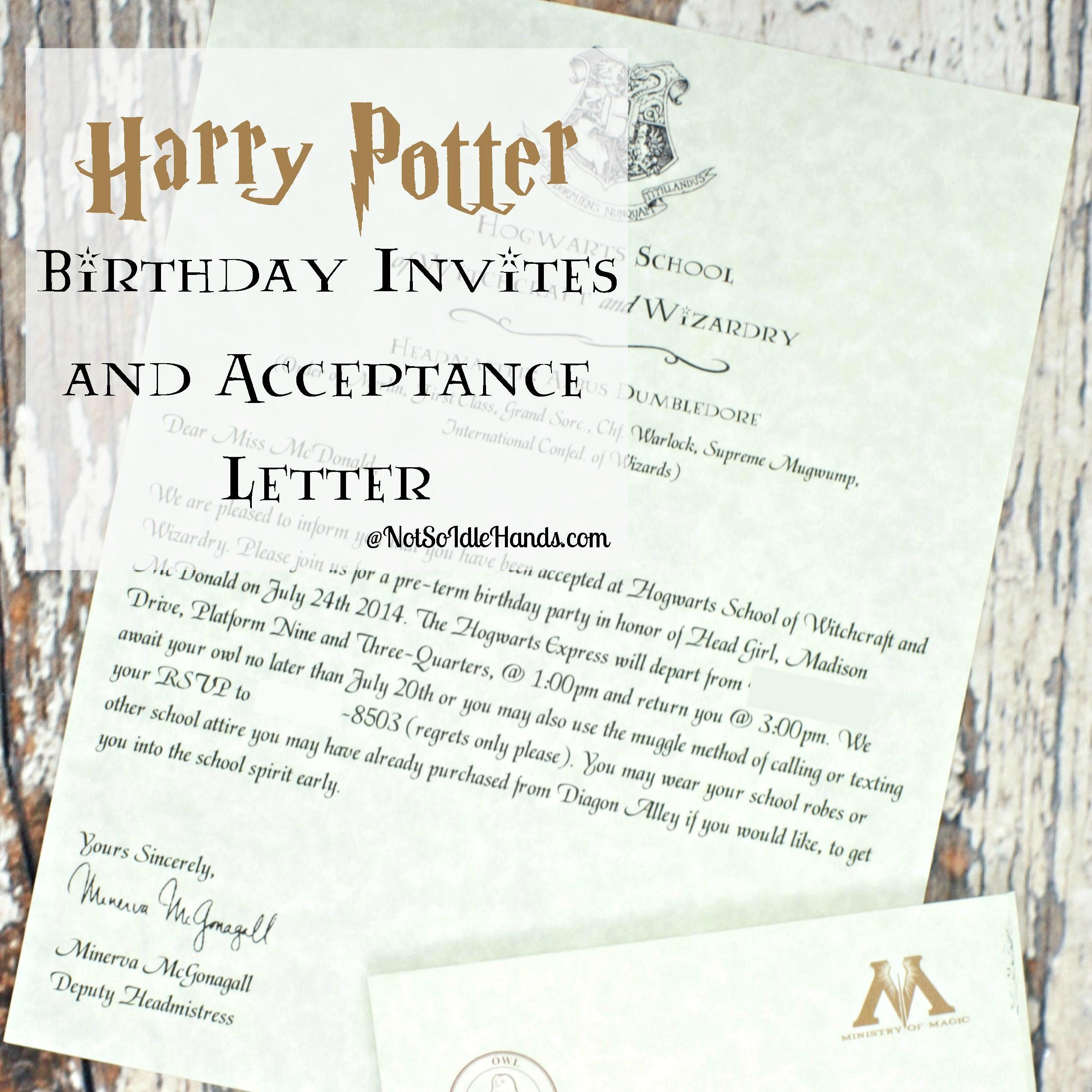 Harry potter birthday invitations and authentic acceptance letter harry potter birthday invitations and authentic acceptance letter and party part 1 notsoidlehands stopboris Images