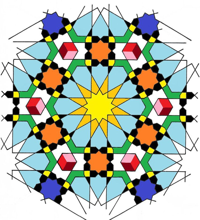 Islamic Geometric Templates 0001 Colored Islamic Art Pattern Geometric Art Islamic Patterns