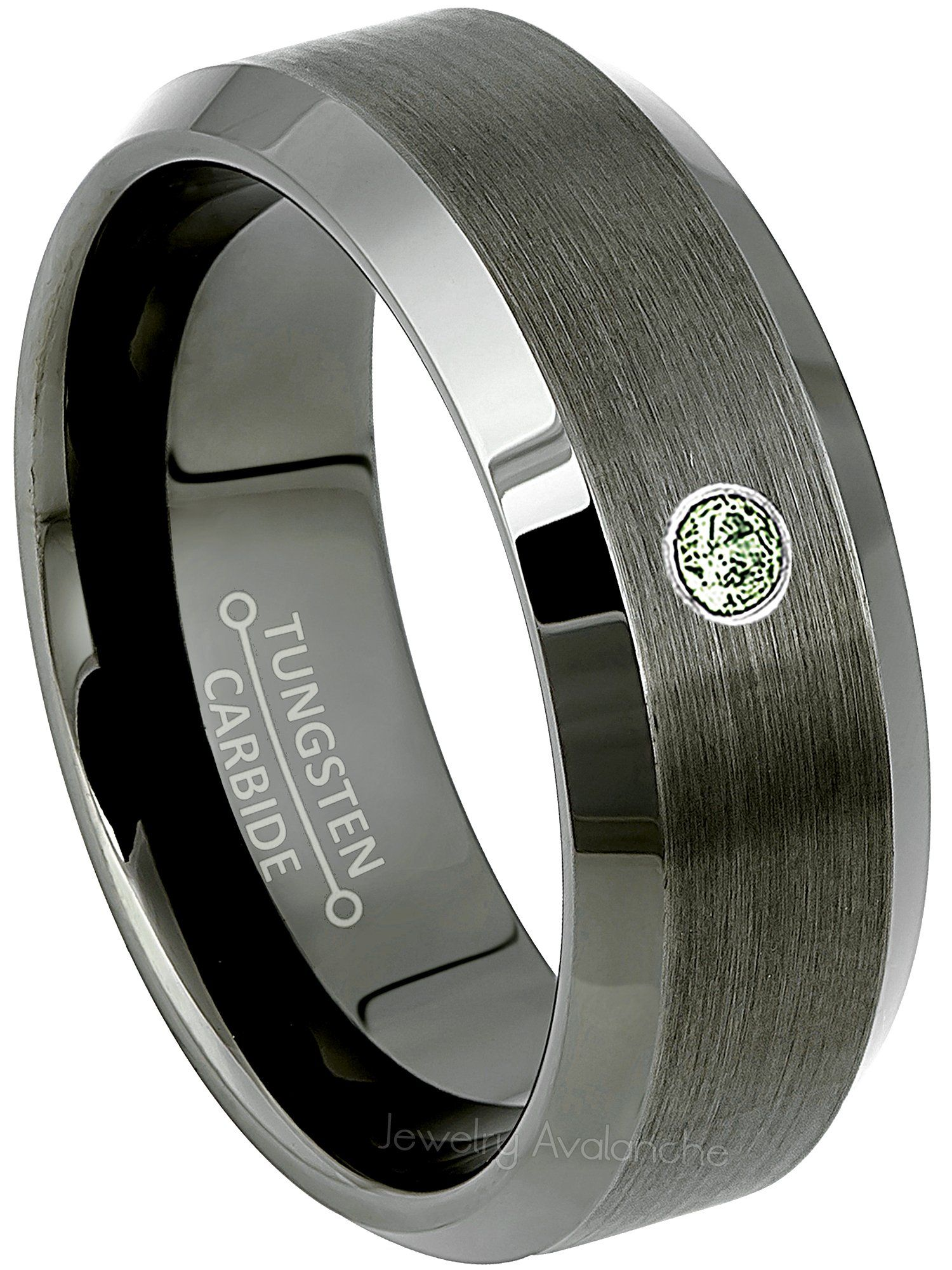Jewelry Avalanche 8MM Comfort Fit Brushed with Grooved Edge Cobalt Chrome Wedding Band 0.07ct Diamond Cobalt Ring