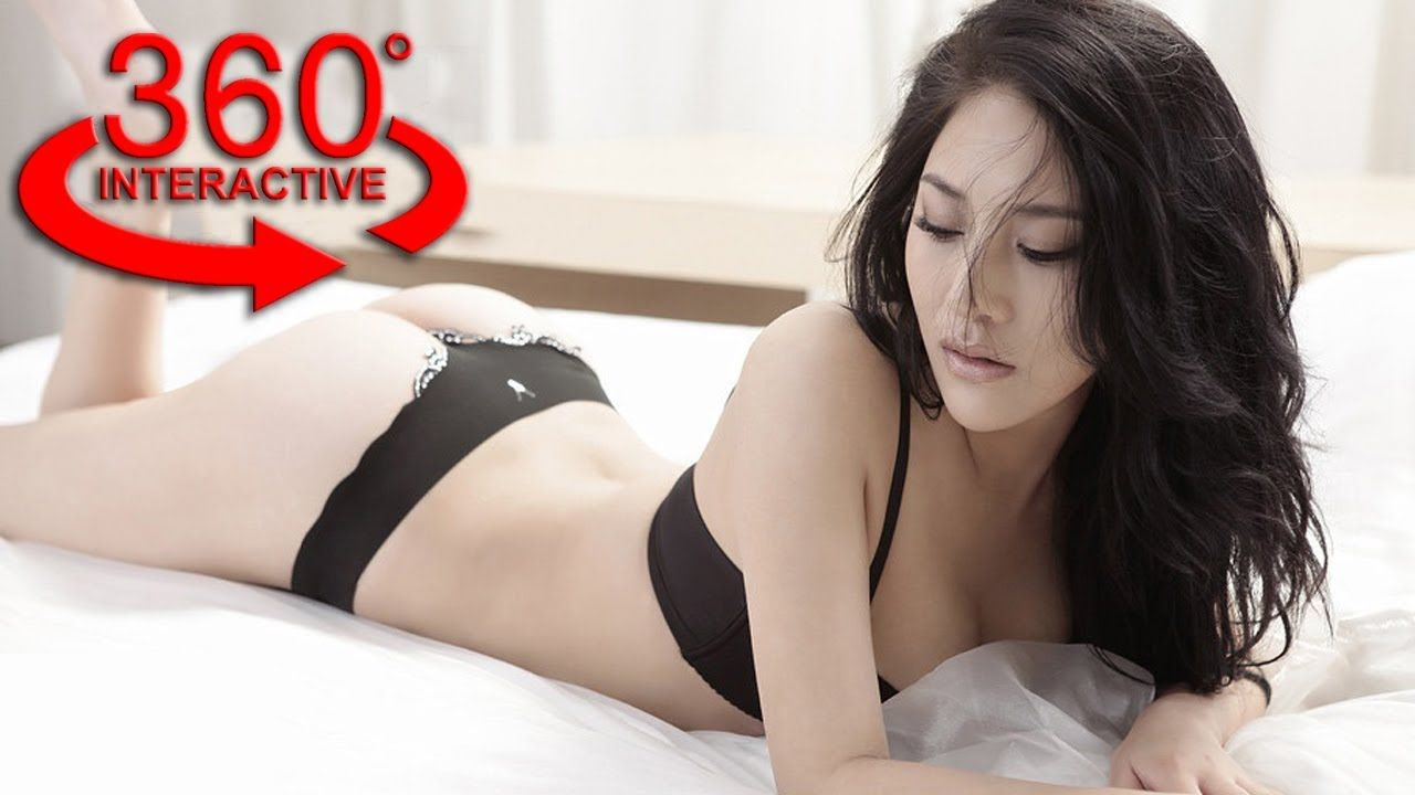 360 vr video - beautiful asian girl undressing on the bed vr - video