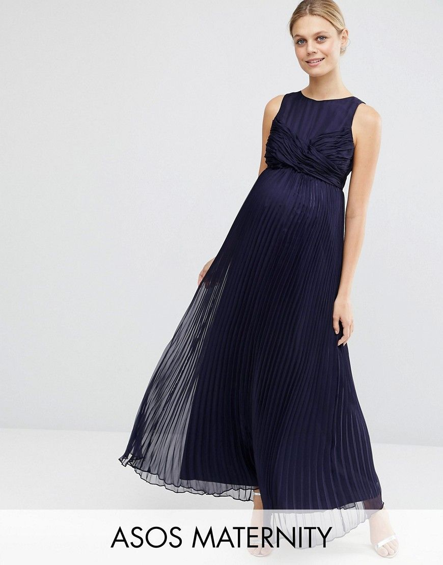 Asos maternity wedding pleated maxi dress with ruched detail blue