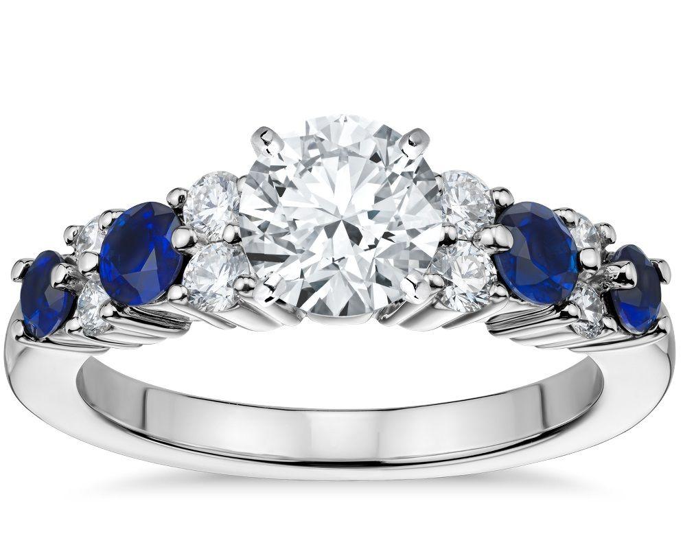 2c4297be33973e 37 Unique Wedding + Engagement Diamond Blue Sapphire Rings Set You Should  Have