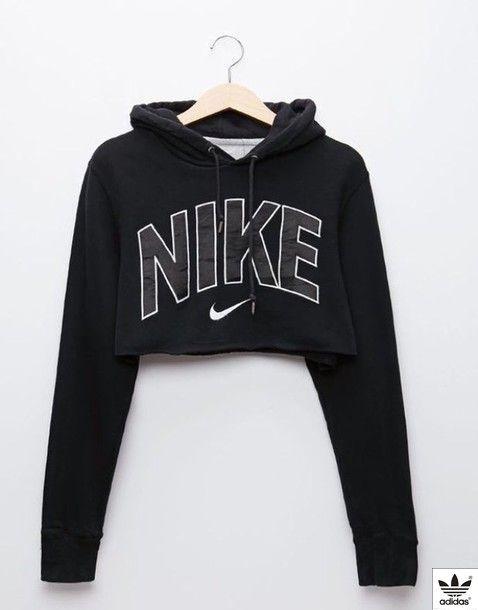 58bb139d9166a7 Wheretoget - Black Nike cropped hoodie sweatshirt