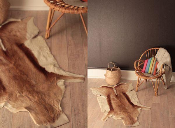 tapis descente de lit peau de chevre