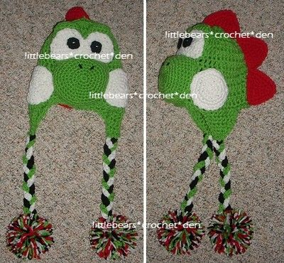 LBCD Custom Boutique Crochet Braided Mario Green Yoshi Hat Beanie ...