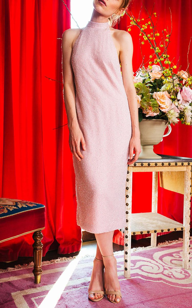 Beaded Halter Shift Dress by CAROLINE HAYDEN for Preorder on Moda Operandi