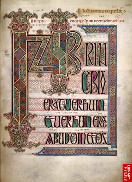 EARLY MEDIEVAL:  The Lindisfarne Gospels from North East England on Holy Island, made in the late 7th or early 8th century.