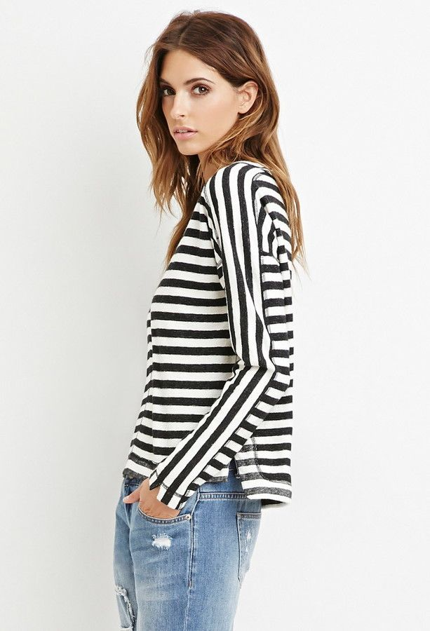 FOREVER 21 contemporary striped reverse french terry top