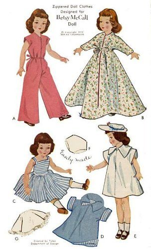 Betsy McCall Doll clothes patterns  I am quite sure my mom had this pattern - it looks so familiar.  I bet the tutu she made for my doll was 'c' with her magical changes.