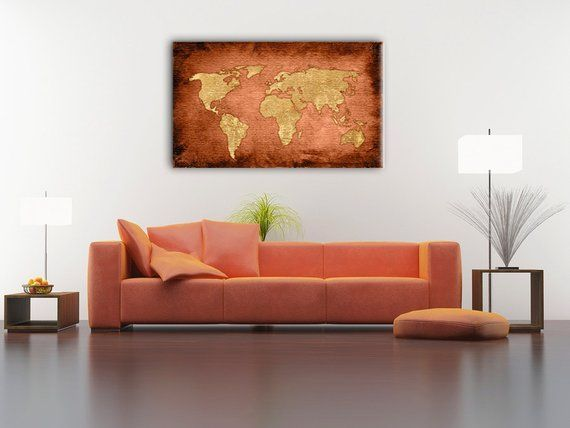 Bronze Color World Map Gift Ideas Boys Room Home Decor