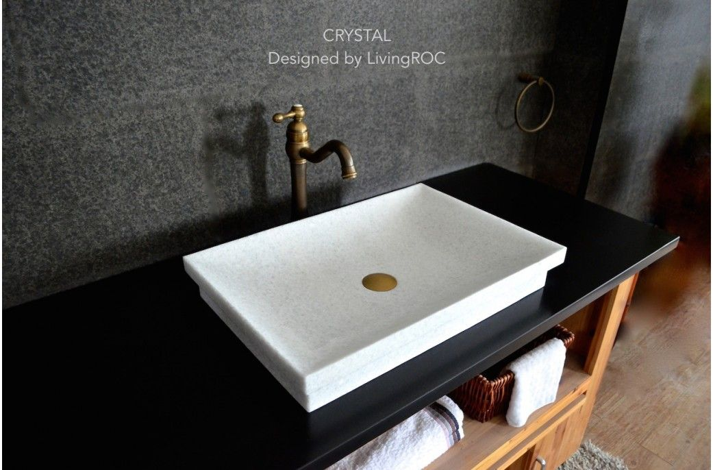 24 Pure Crystal White Marble Bathroom Vessel Sink Crystal