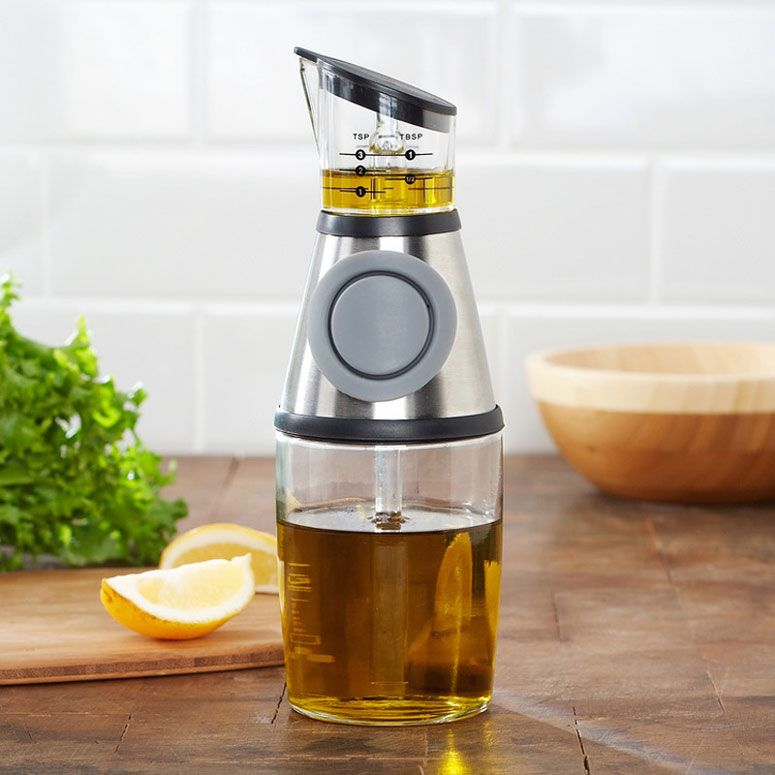 Press-and-Measure Oil and Vinegar Dispenser