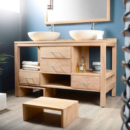 meuble salle de bain en teck brut galyno duo home en. Black Bedroom Furniture Sets. Home Design Ideas