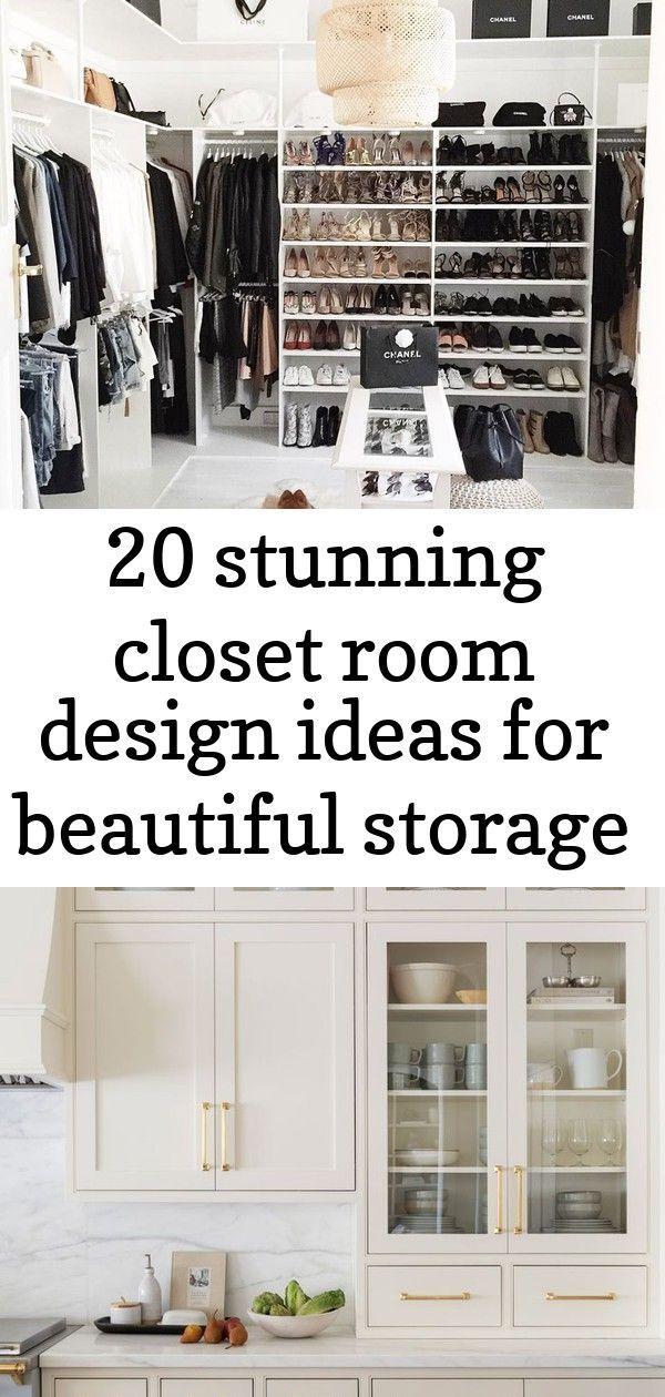 20 stunning closet room design ideas for beautiful storage 1 #swisscoffeebenjaminmoore Kitchen cabinets in creamy white (Swiss Coffee, Benjamin Moore) #swisscoffeebenjaminmoore