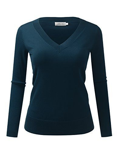 Because I Love You Women's Classic V-Neck Slim Fit Soft Pullover Long Sleeve Sweater