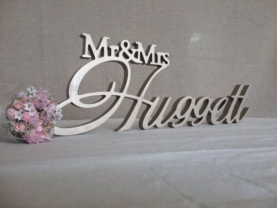 Custom Wooden Letters Mr Mrs Last Name Wedding Table Sign Decor