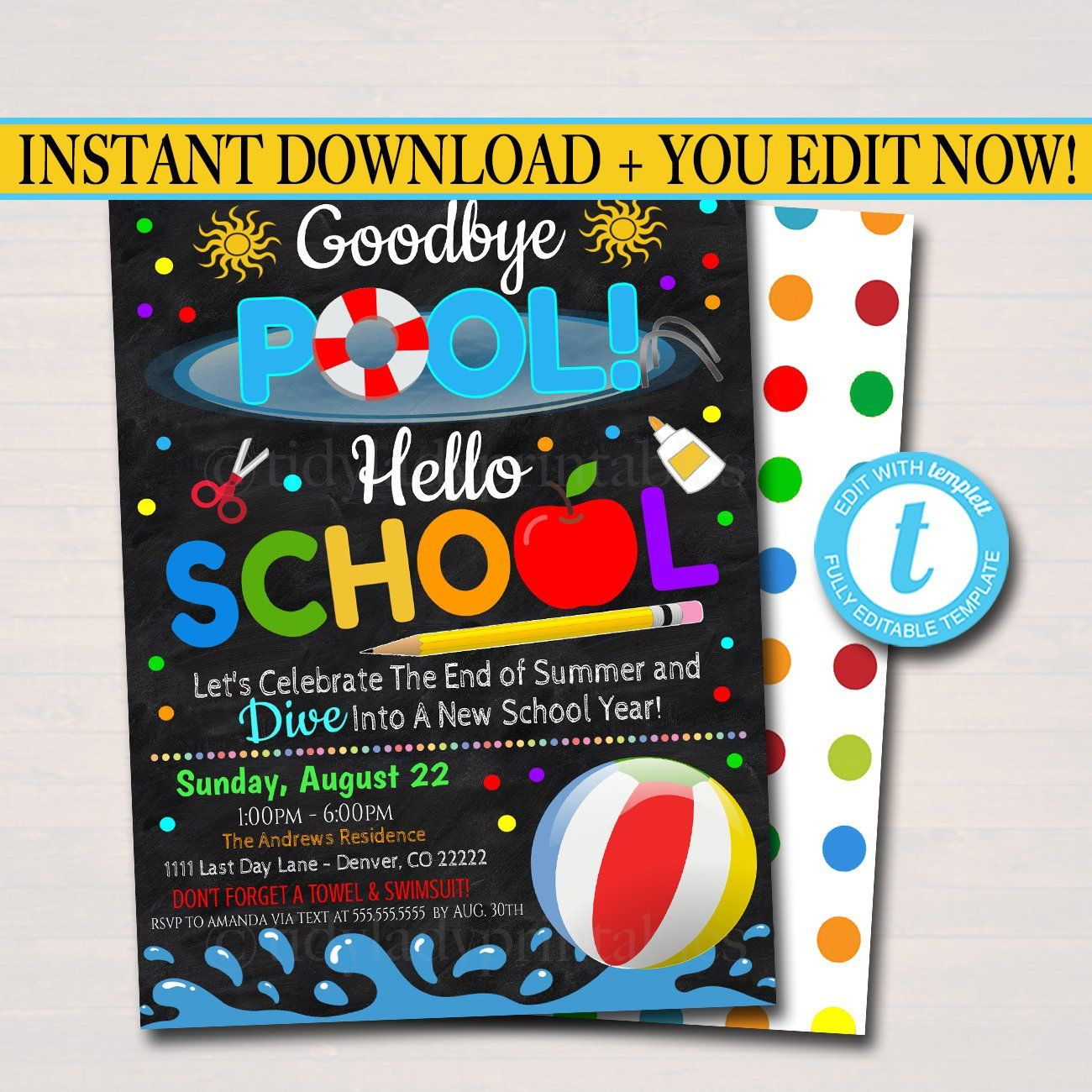 EDITABLE End of Summer Pool Party Invitation, Printable Digital Invite, Goodbye Pooll Hello School Party, Backyard bbq Invite, Splish Splash #summerpoolparties