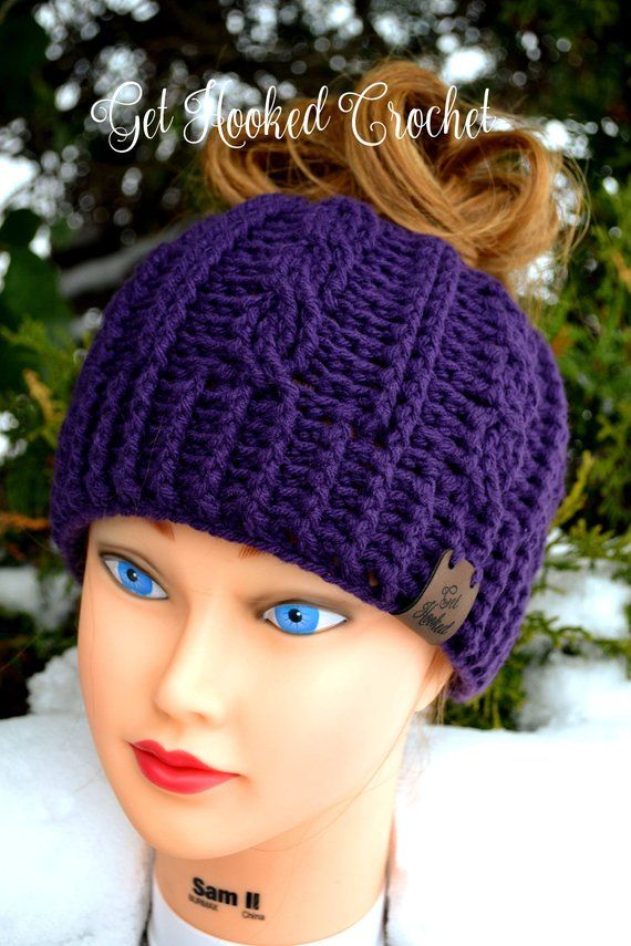 0add20dbfe5 Adult or Teen Cable Stitch Messy Bun Hat
