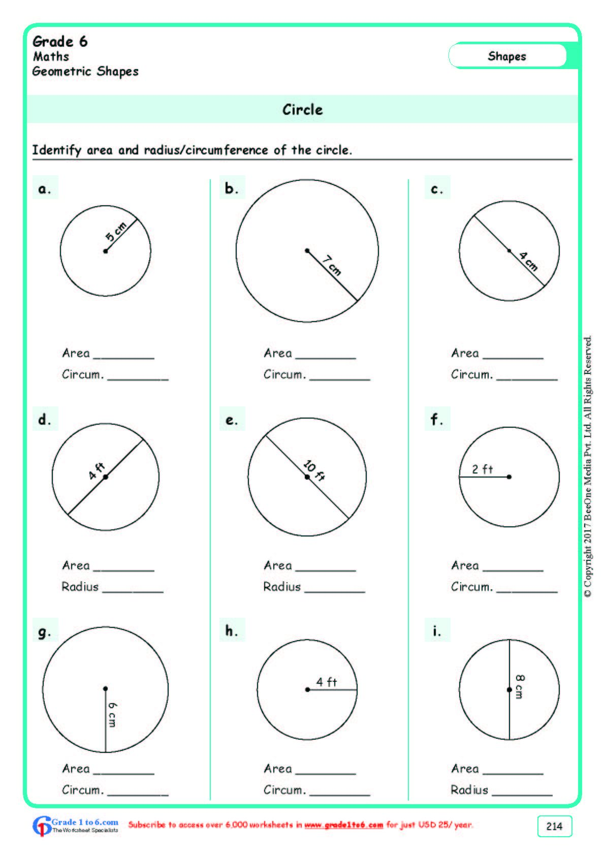 Worksheet Grade 6 Math Area Of A Circle In