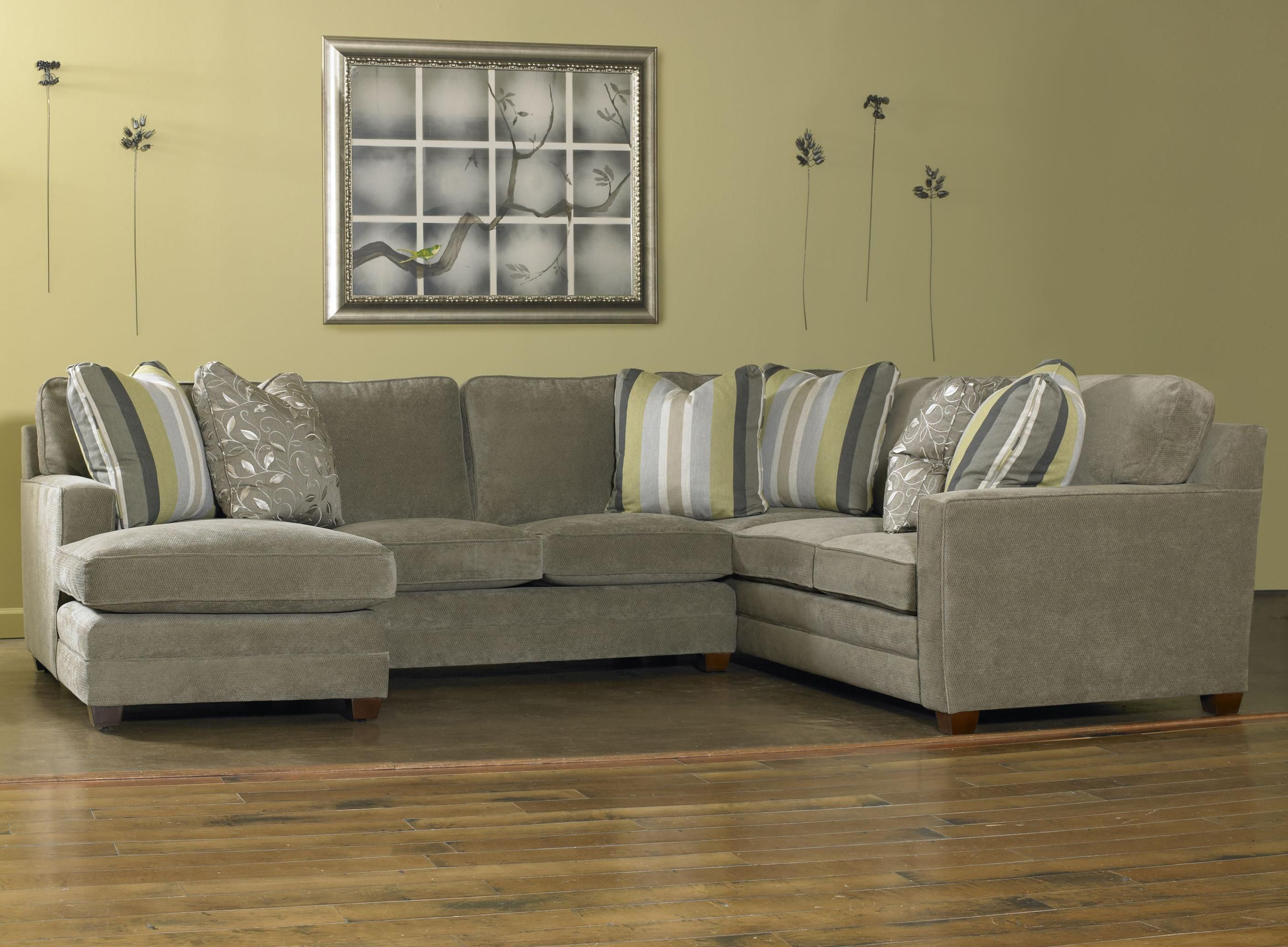 Ricky Contemporary Three Piece Sectional Sofa W Laf Chaise By Sam