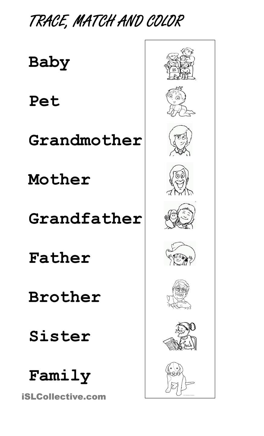 Color english worksheets - Trace Family Members