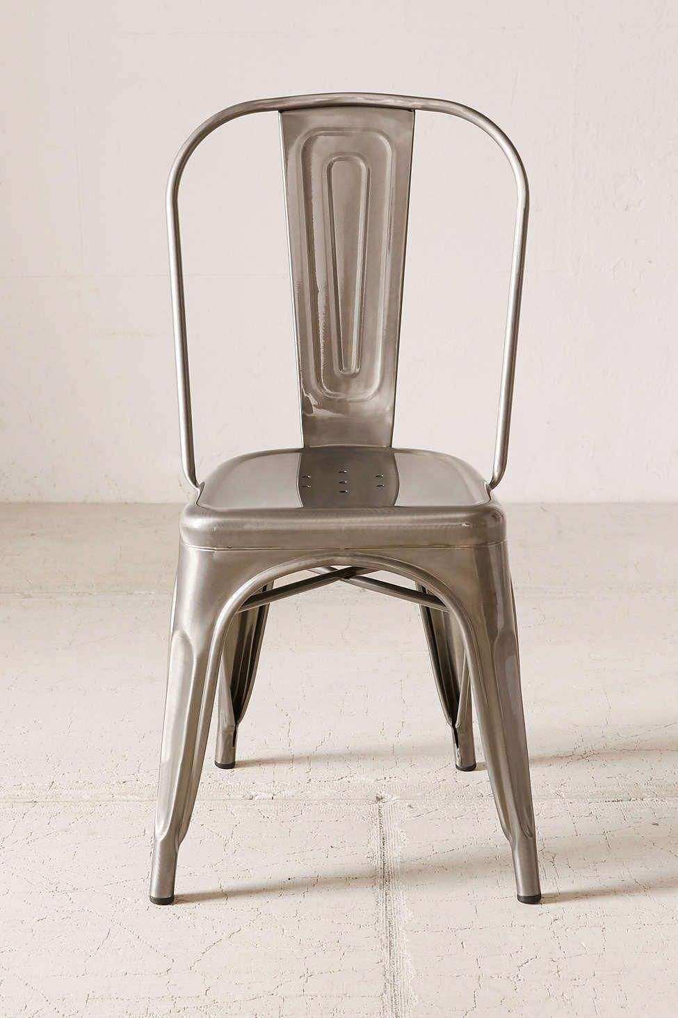 The classic silver/gunmetal dining chair used in industrial decor settings. #MetalChair #IndustrialChair #industrialdecor
