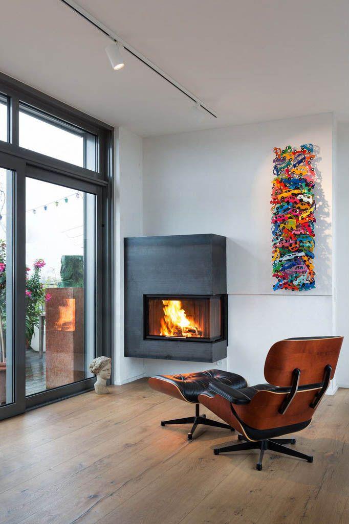 wandhaengender zweiseitiger kamin mit verkleidung aus 4 mm starkem walzstahl fireplace in the. Black Bedroom Furniture Sets. Home Design Ideas