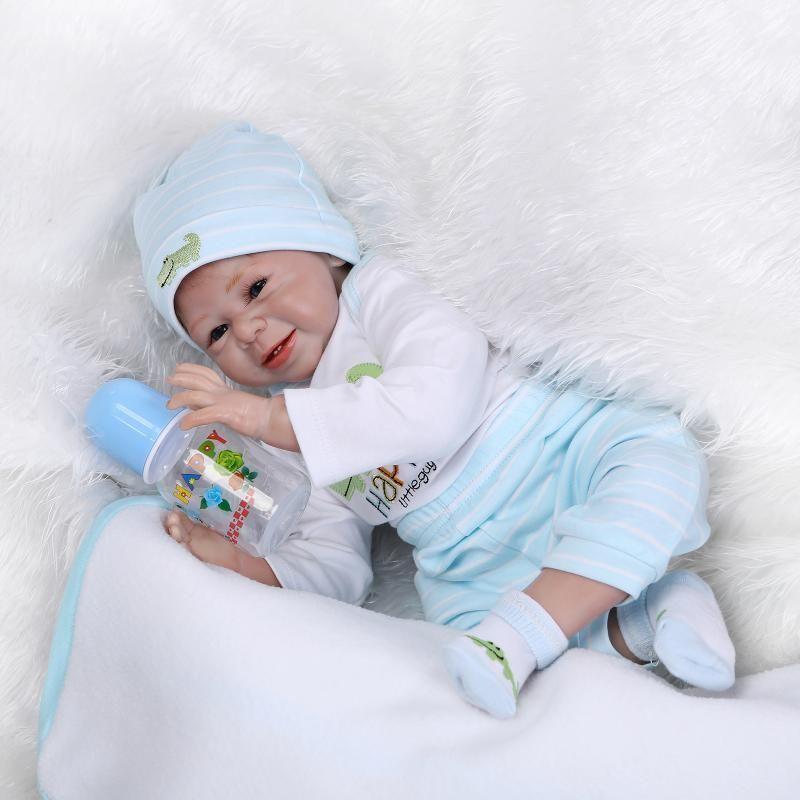22inch Handmade Lifelike Baby Girl Soft Silicone Vinyl Reborn Newborn Dolls Gift