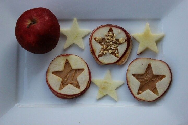 Fun way to serve apples and peanut butter with some granola. Especially for kids!