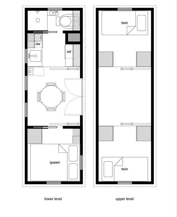 8 by 24 foot tiny house on wheels layout perfect for 2 for Build as you go house plans