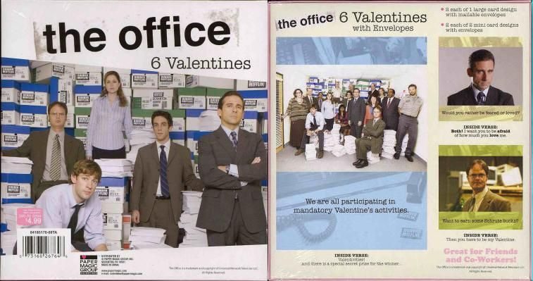 "Chuck's Stuff has this NBC TV show ""The Office"" Valentine's Day box of cards for sale for only $2 (was 5 bucks retail). Box of 6, sealed. Has 2 of the large card, and 2 each of 2 different mini-cards, with envelopes. A 2009 release from Target stores, but same images as 2008. Pic shows front and back of box with all 3 designs (Cast photo, Michael Scott, Dwight Schrute). #theoffice"
