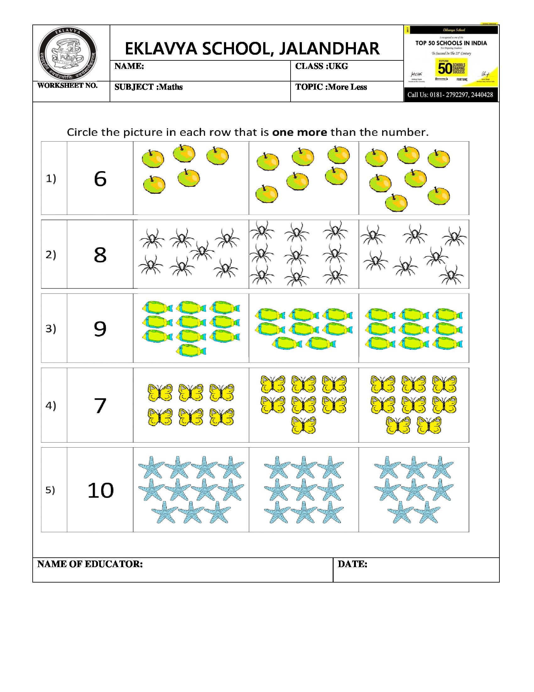 Worksheet On More Less More And Less Worksheets Math [ 2200 x 1700 Pixel ]