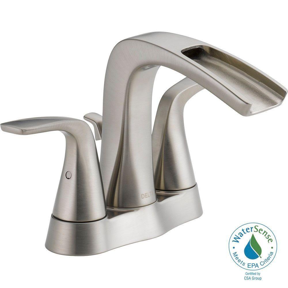 Delta Tolva 4 in. Centerset 2-Handle Bathroom Faucet in Brushed ...