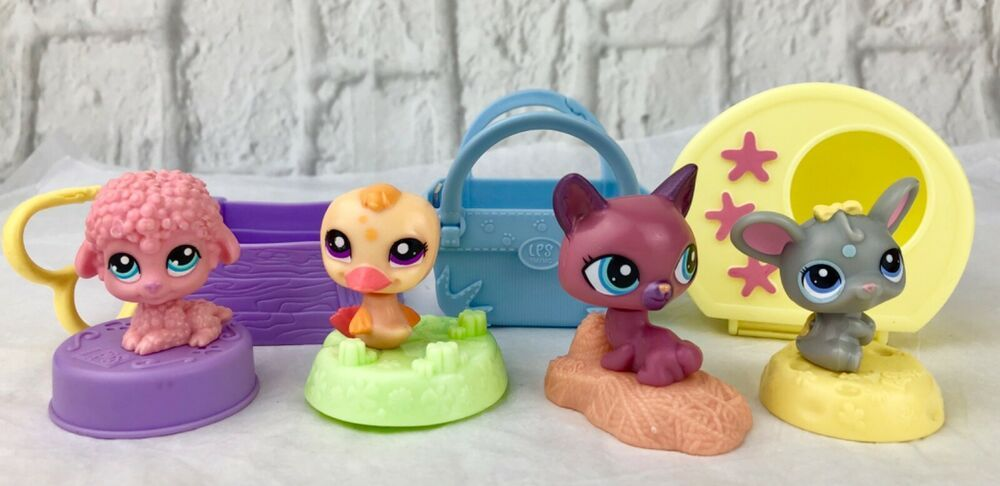 Mcdonalds Lps Pink Poodle Duck Cat Mouse On Stands With Accessories Toys Hobbies Preschool Toys Pretend Play Littlest Pink Poodle Cat Mouse Little Pets